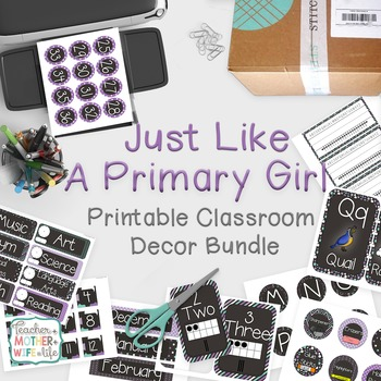 Classroom Decor - Purple, teal and chalkboard