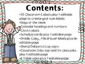 Classroom Decor Kit EDITABLE (Mint and Coral chevron version)