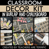 Classroom Decor Kit in Burlap and Chalkboard