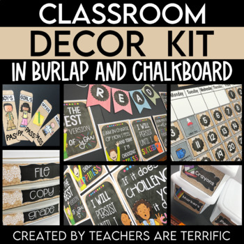 Classroom Decor Kit in Burlap and Chalkboard