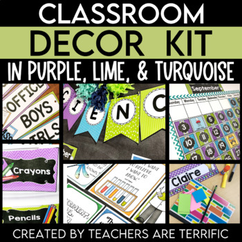 Classroom Decor Kit in Purple, Lime, and Turquoise (Science Theme)