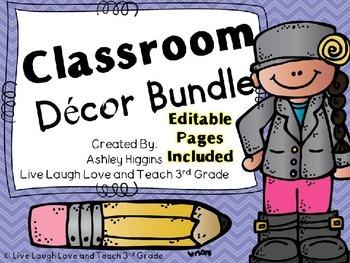 Classroom Decor Kit with EDITABLE pages (purple chevron)