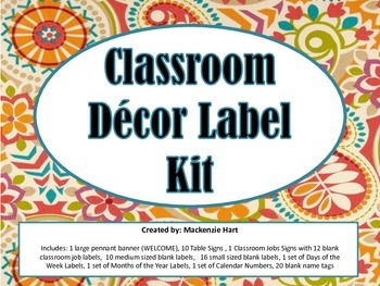 Classroom Decor Label Kit
