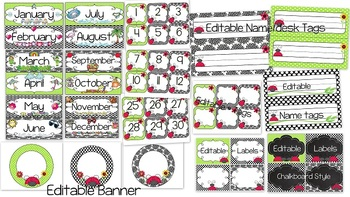 Classroom Decor-Ladybug Love in Lime and Black {editable files included}