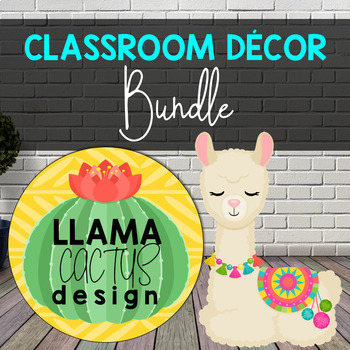 Llama Classroom Decor, Llama and Cactus Theme - Editable Growing Bundle