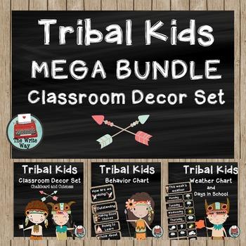 Classroom Decor - MEGA BUNDLE - Tribal Kids Theme