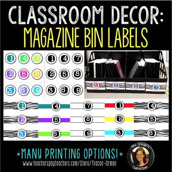 Classroom Decor: Magazine Bin Number Labels