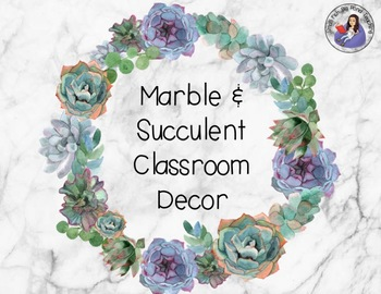 Classroom Decor Marble and Succulent