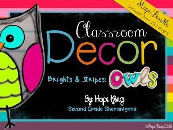 Classroom Decor Mega Bundle: Brights & Stripes: OWLS