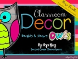 Classroom Decor Mega Bundle: Brights & Stripes: OWLS
