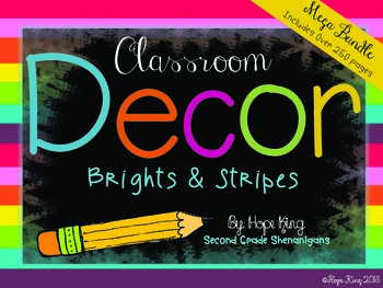 Classroom Decor Mega Bundle: Brights and Stripes {Editable}