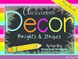 Classroom Decor Mega Bundle: Brights and Stripes {Editable}