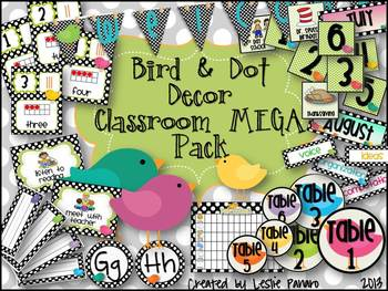 Classroom Decor  Mega Pack- Birds & Polka Dots