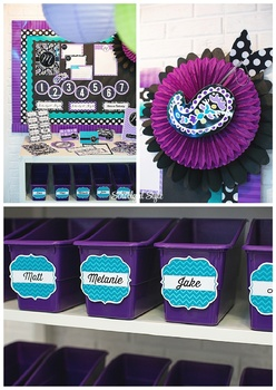 Classroom Decor Midnight Orchid Paisley - Full Collection Bundle