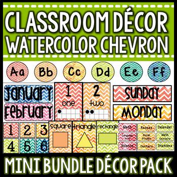 Classroom Decor Mini Pack- Watercolor Chevron
