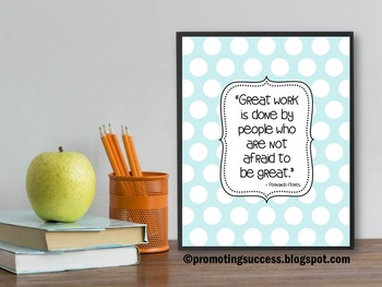 Great Work Sign for Polka Dot Classroom Decor, Motivational Poster