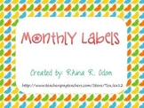 Classroom Decor: Monthly Labels