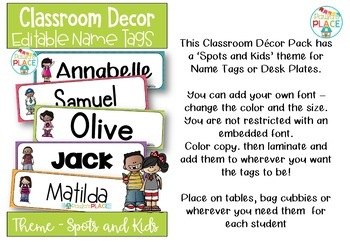 Classroom Decor Name Tags or Desk Plates Spots and Melonheadz