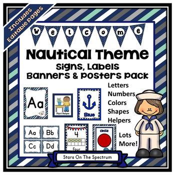 Nautical Theme Classroom Decor EDITABLE Bundle (Nautical Classroom Theme Decor)