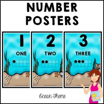 OCEAN Classroom Decor Number Posters