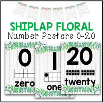 Classroom Decor - Number Posters Shiplap Floral