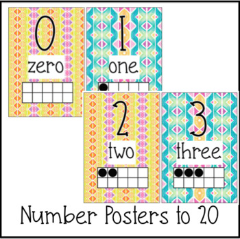 Classroom Decor - Number Posters Watercolor Rainbow Stripes