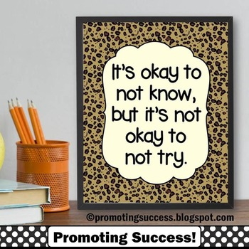Leopard or Cheetah { Animal Print } Teacher Classroom Decor Quote Poster