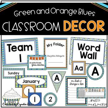Classroom Decor Orange, Green, and Blue