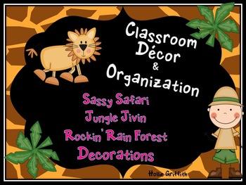 Classroom Decor & Organization: Sassy Safari, Jungle Jivin