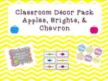 Classroom Decor Pack-Apples, Brights, Chevron
