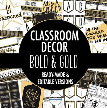 Classroom Decor Pack - Black and Gold Classroom Decorations