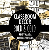 Classroom Decor Pack - Black and Gold Classroom Perfect fo