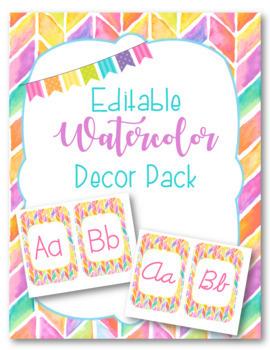 Classroom Decor Pack-Chevron Watercolor