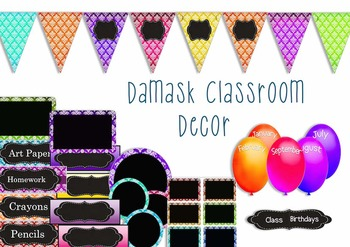 Classroom Decor Pack - Damask