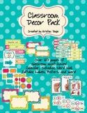 Classroom Decor Pack (Editable) - Turquoise Dots Theme