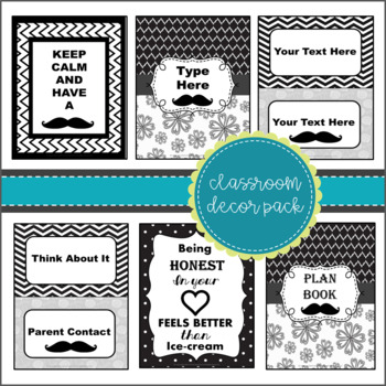 Classroom Decor Pack ~Mustache Themed~ Black and White