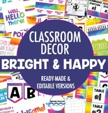 Classroom Decor Pack - Rainbow, Happy & Bright Class Decorations