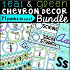 Classroom Decor Pack: Teal and Green Chevron