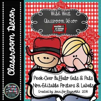 Peek-Over Buffalo Pals & Gals--Western Classroom Decor--No