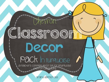Classroom Decor Pack in Turquoise Chevron