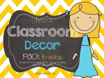 Classroom Decor Pack in Yellow Chevron