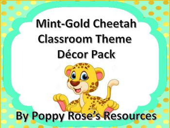 Classroom Decor Package - Mint-Gold Cheetah Theme