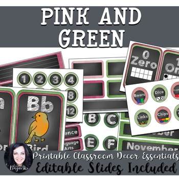 Classroom Decor - Pink and Green Chalkboard