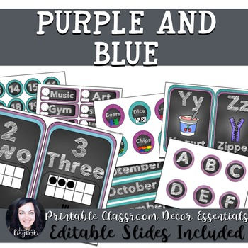 Classroom Decor - Purple and Blue Chalkboard