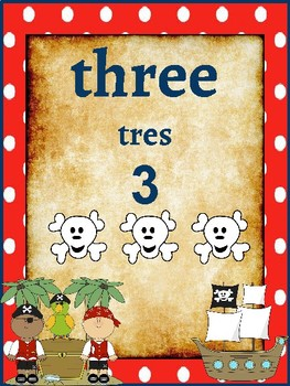 Classroom Decor- Pirate Themed Number Poster (English/ Spanish)