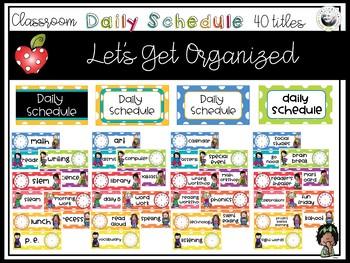 Classroom Decor- Polka Dot Back to School  - Classroom Schedules (editable)