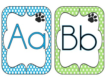 Classroom Decor-Polka Dots and Paws {Spanish Numbers, Colors and Alphabet cards}