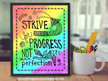 Motivational Poster about Progress, Rainbow Classroom Decor Poster