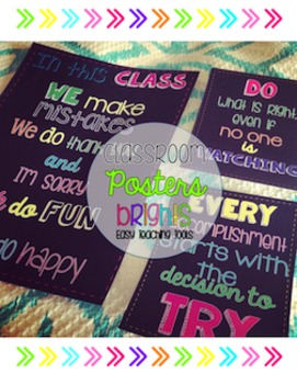 Classroom Decor: Positive Posters {Brights and Chalkboard Design}