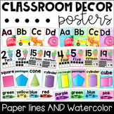 Classroom Decor Poster Set - Alphabet, Numbers, Colors, Shapes